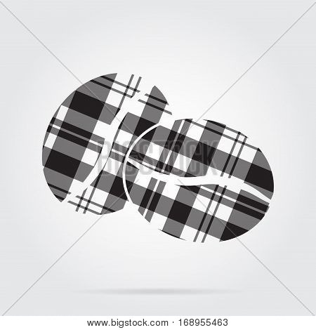 grayscale gray black isolated tartan icon with white stripes - two coffee beans and shadow in front of a gray background