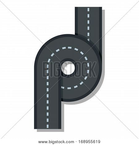 Little road junction icon. Flat illustration of little road junction vector icon for web
