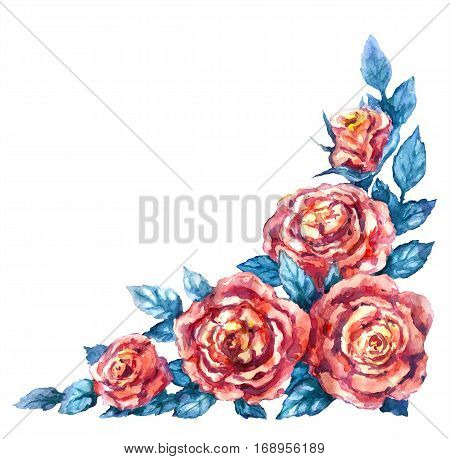 Hand drawn watercolor illustration. Floral elements for decoration. Red rose bunch isolated on white. Flowers corner design. Aquarelle sketch.