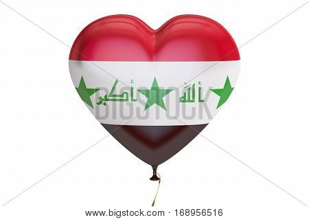 balloon with Iraq flag in the shape of heart 3D rendering isolated on white background