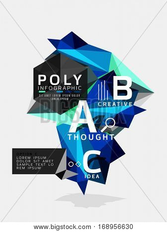 Vector low poly abstract infographics. Vector polygonal background with A B C options created with triangles for workflow layout, diagram, number options or web design