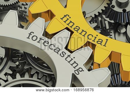 Financial Forecasting concept on the gearwheels 3D rendering