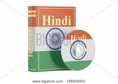 Hindi book with flag of India and CD disk 3D rendering isolated on white background