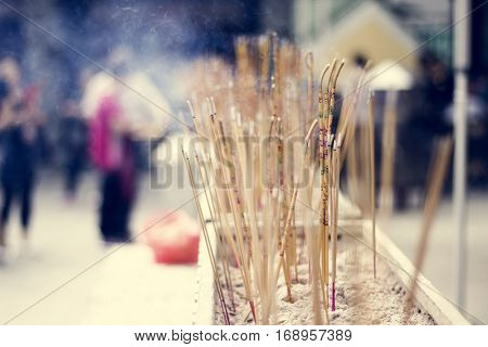Joss Sticks Temple Asian Praying