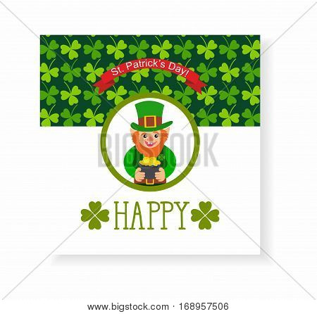 St. Patrick's Day card. leprechaun with a pot of gold