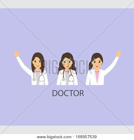et of Cartoon Medical Team (dentist, doctors and medical staff people). Vector illustration