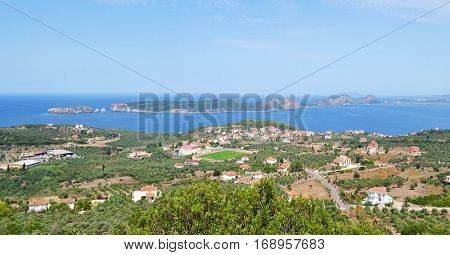 landscape of Navarino bay and Sphacteria island Messinia Peloponnese Greece