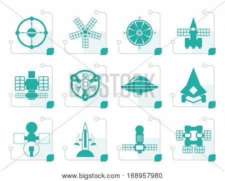 Stylized different kinds of future spacecraft icons - vector icon set