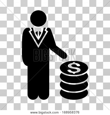 Businessman icon. Vector illustration style is flat iconic symbol, black color, transparent background. Designed for web and software interfaces.