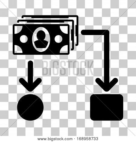 Cashflow icon. Vector illustration style is flat iconic symbol, black color, transparent background. Designed for web and software interfaces.