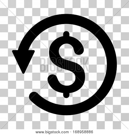 Chargeback icon. Vector illustration style is flat iconic symbol, black color, transparent background. Designed for web and software interfaces.