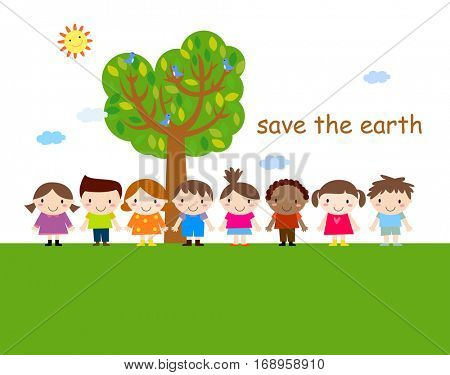 Cute children and tree