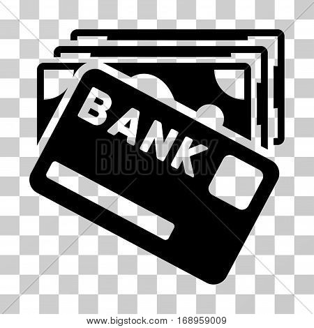 Credit Money icon. Vector illustration style is flat iconic symbol, black color, transparent background. Designed for web and software interfaces.