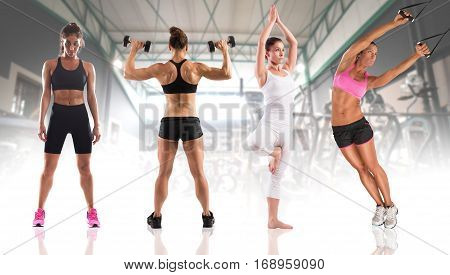 Women coaches with muscular bodies during fitness workout