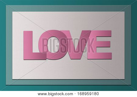 simple Valentine's day card PaperCraft vintage style with word LOVE