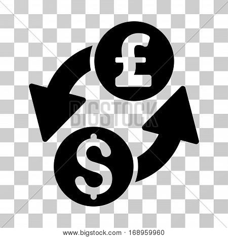 Dollar Pound Exchange icon. Vector illustration style is flat iconic symbol, black color, transparent background. Designed for web and software interfaces.