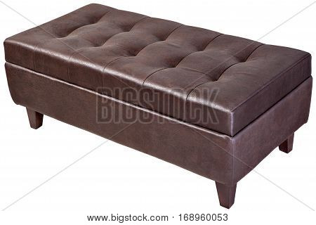 Two seater dark brown faux leather bench ottoman upholstered with storage space isolated on white clipping path saved.
