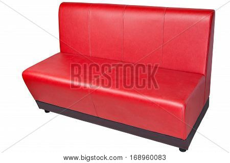 Red color imitation leather office couch isolated on white clipping path saved.