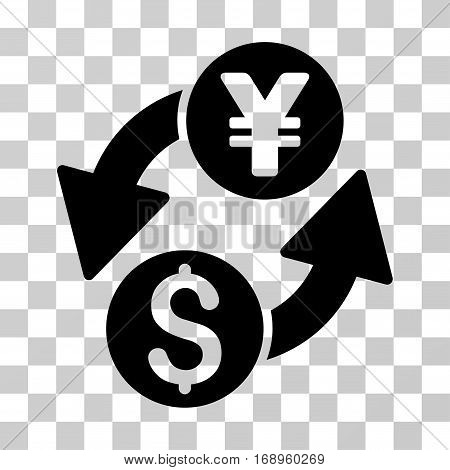 Dollar Yen Exchange icon. Vector illustration style is flat iconic symbol, black color, transparent background. Designed for web and software interfaces.