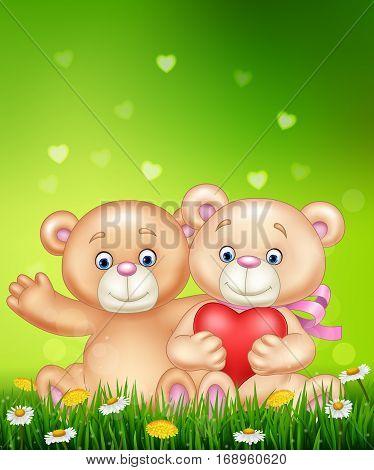 Vector illustration of cute couple of teddy bear hugging heart