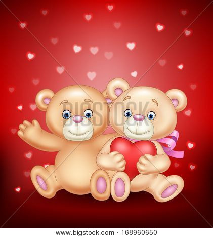 Vector illustration of cute couple of teddy bear hugging heart