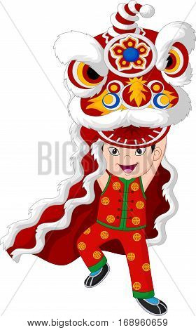 Vector illustration of Little boy playing Chinese lion dancing