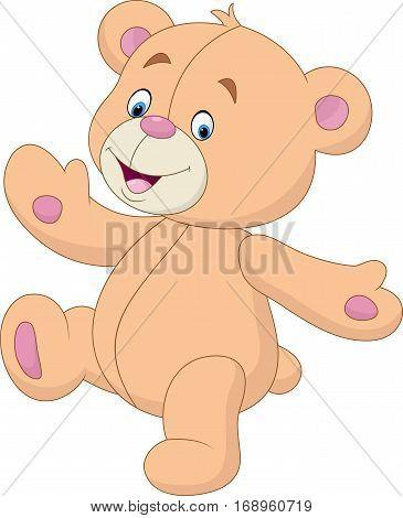 Vector illustration of Cartoon teddy bear waving hand