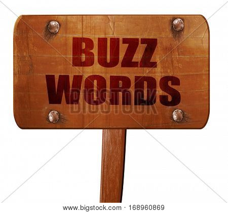buzzword, 3D rendering, text on wooden sign