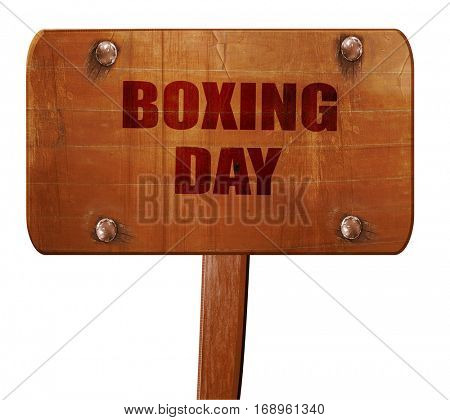 boxing day, 3D rendering, text on wooden sign