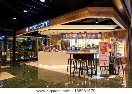 HONG KONG - CIRCA NOVEMBER, 2016: a Pacific Coffee branch in Hong Kong. Pacific Coffee Company is a Pacific Northwest U.S.- style coffee shop group originating from Hong Kong.