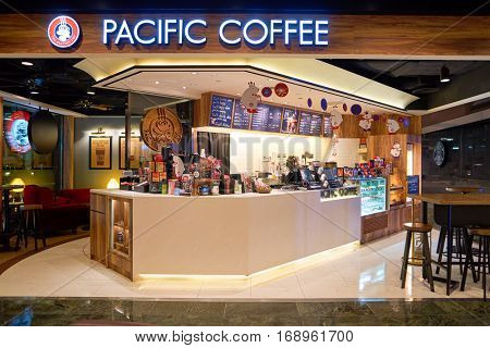 HONG KONG - CIRCA NOVEMBER, 2016: a Pacific Coffee branch in Hong Kong. Pacific Coffee Company is a Pacific Northwest U.S.- style coffee shop group originating from Hong Kong.