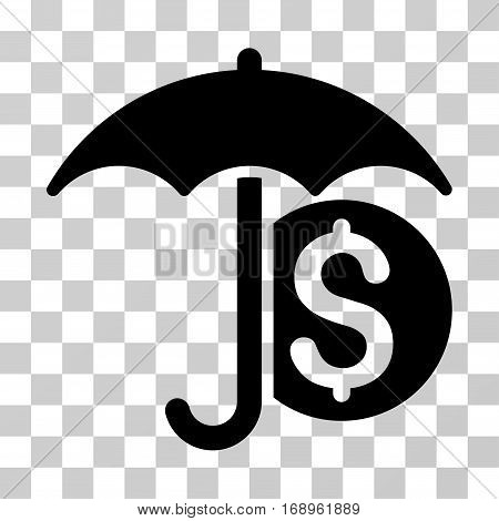 Money Umbrella Protection icon. Vector illustration style is flat iconic symbol, black color, transparent background. Designed for web and software interfaces.