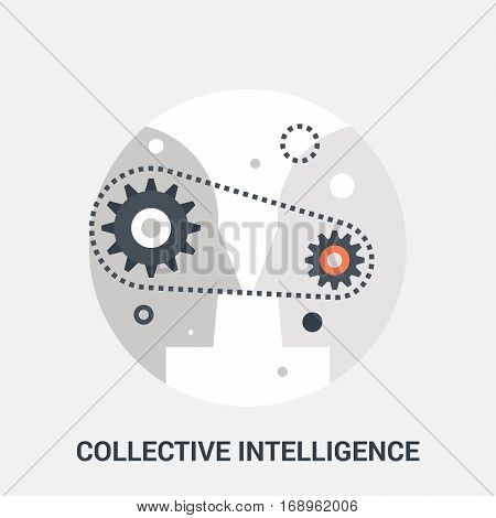 Abstract vector illustration of collective intelligence icon concept