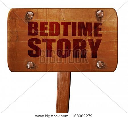bedtime story, 3D rendering, text on wooden sign