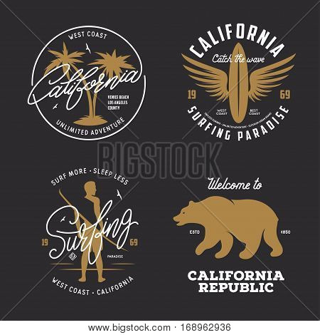 California related t-shirt vintage style graphics set. Labels, badges, emblems and design elements collection. Vector illustration.