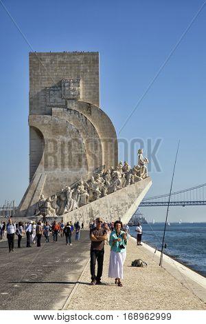 LISBON-PORTUGAL NOVEMBER 8, 2015: Monument to the Discoveries in Lisbon, Portugal. Inaugurated in 1960 for the 500th anniversary of Henry the navigator, important figure of 15th-century.