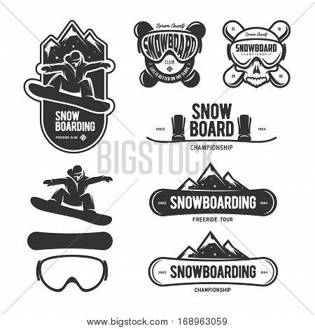 Snowboarding labels set. Winter sports emblems. Snowboard championship badge. Vector vintage illustration