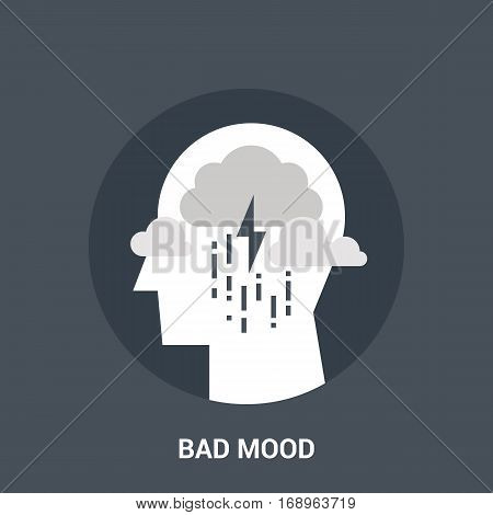 Abstract vector illustration of bad mood icon concept