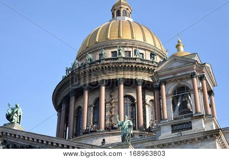 View of Saint Isaac's Cathedral in St.Petersburg Russia.