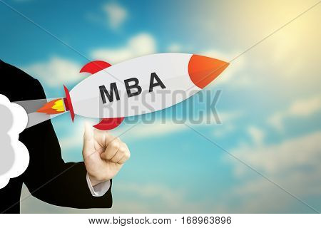 business hand clicking MBA or Master Of Business Administration flat design rocket