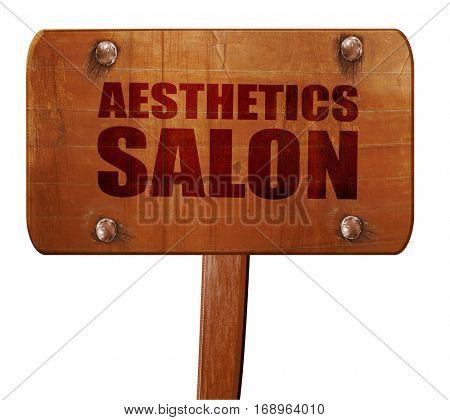 aesthetics salon, 3D rendering, text on wooden sign