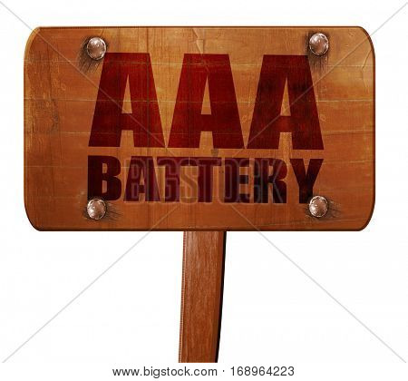 aaa battery, 3D rendering, text on wooden sign