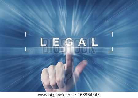 hand clicking on legal button with zoom effect background