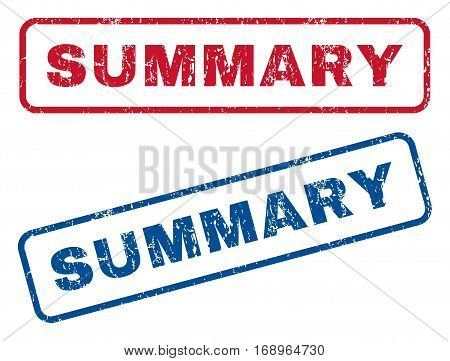 Summary text rubber seal stamp watermarks. Vector style is blue and red ink caption inside rounded rectangular shape. Grunge design and dust texture. Blue and red stickers.