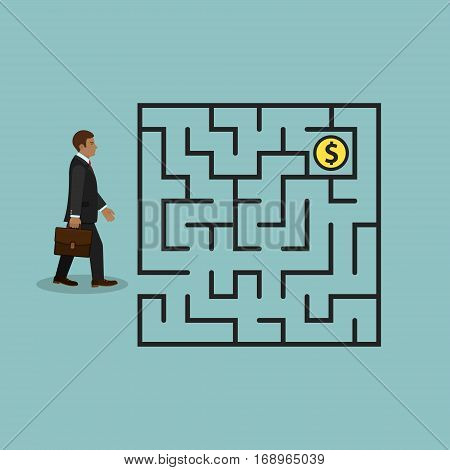 Businessman in labyrinth search money vector business concept.