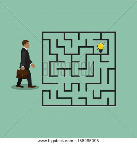 Businessman in labyrinth search idea light bulb vector business concept.