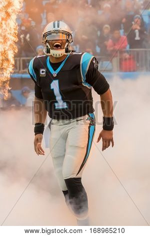 Charlotte, NC - Dec 11, 2016:  Carolina Panthers Quarterback, Cam Newton, shows emotion before the game against the San Diego Chargers at Bank of America Stadium in Charlotte, NC.