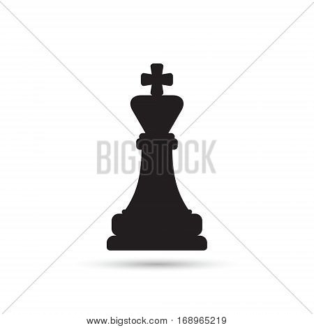Chess king icon. Vector isolated silhouette chess figure.