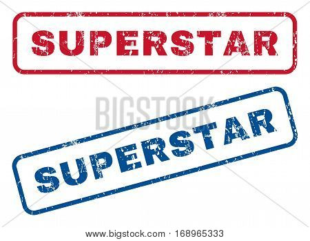 Superstar text rubber seal stamp watermarks. Vector style is blue and red ink caption inside rounded rectangular shape. Grunge design and dust texture. Blue and red signs.