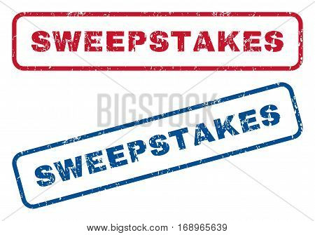 Sweepstakes text rubber seal stamp watermarks. Vector style is blue and red ink caption inside rounded rectangular banner. Grunge design and unclean texture. Blue and red stickers.